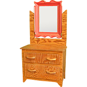 Charming Handmade Folk Art Wood Doll Dresser with Mirror