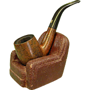 1930s Syroco Wood Pipe Stand with Jobey Pipe