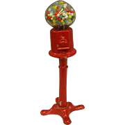 Vintage Miniature Cast Metal Red Gumball Machine