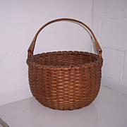 Hold for Kate- Antique Large New England Swing Handle Basket with Domed Bottom