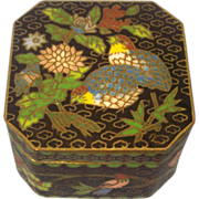 Cloisonne Box Birds & Flowers on Black 8 sided