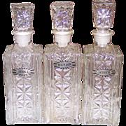 Set 3 Liquor Bottles w/Label Tags Vodka Bourbon Scotch