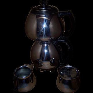 Sunbeam Art Deco Double Bubble Coffee Pot & Cream & Sugar
