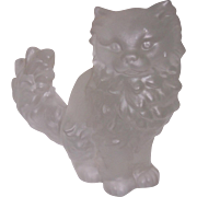 Large Frosted Lead Crystal Persian Cat Figurine Germany