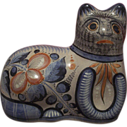 Vintage Large Mexican Tonala Pottery Cat