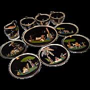 10 Vintage Mexican Black Tlaquepaque Pottery Dishes
