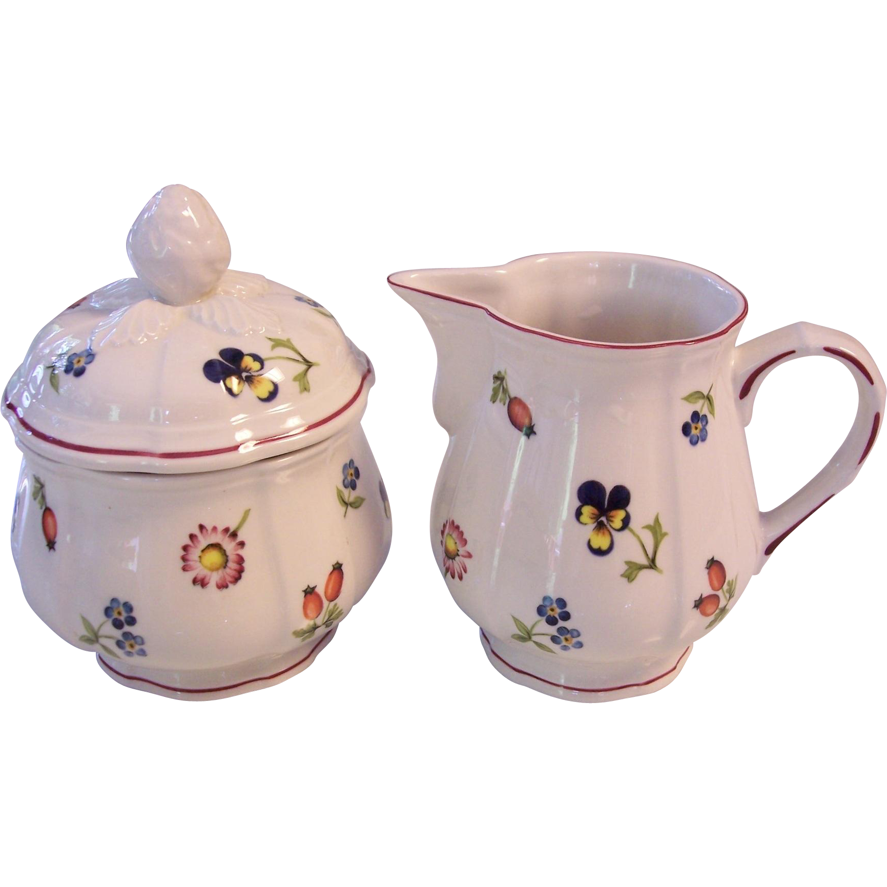Villeroy boch petite fleur sugar and creamer set v b from modseller on ruby lane - Villeroy and bosh ...
