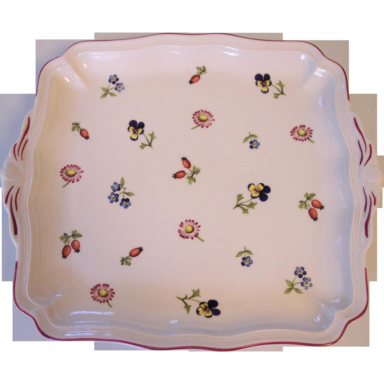 villeroy boch petite fleur square handled cake plate v. Black Bedroom Furniture Sets. Home Design Ideas