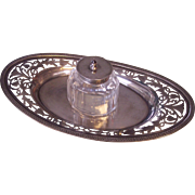 Antique English Sterling Silver Inkwell / Inkstand