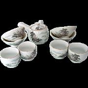 Mt Fuji Japan Tea Set and Rice Bowls