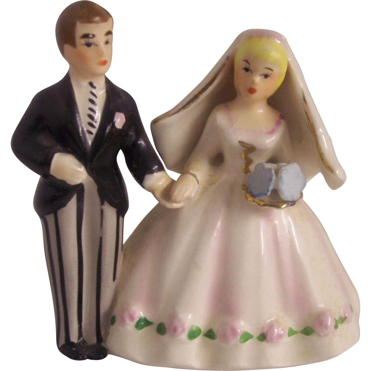 Lefton Japan Bride And Groom Cake Topper Figurine From