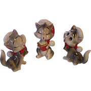 Trio of Christmas Singing Cats Ceramic Japan