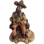 Large Capodimonte Vagabond on Bench Petting Dog Figurine