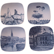 Set of 4 B & G Small Dishes Denmark Scenes Kjeld Bonfils