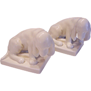 Rookwood Pottery Hound Dog Bookends Ivory 1930