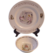 Wedgwood Beatrix Potter 2 Pc Mrs Tiggy Winkle Dinner Plate, Peter Rabbit Bowl- Frederick Warner