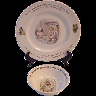 Wedgwood Beatrix Potter 2 Pc Mrs Tiggy Winkle Dinner Plate, Peter Rabbit Bowl- Frederick Warner