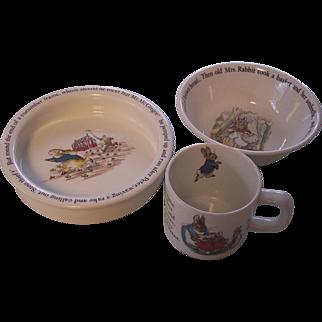Wedgwood Beatrix Potter 3 Pc Cereal Bowl, Feeding Bowl, Mug Peter Rabbit -Frederick Warne
