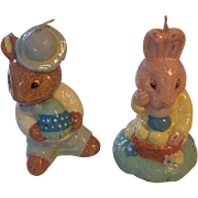 2 Vintage Easter Rabbit Candles Bunnykins
