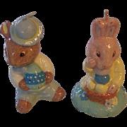 2 Vintage Easter Rabbit Candles Bunnykins
