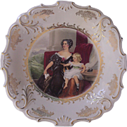 Lovely Woman and Child Charger Schwarzenhammer Bavaria Germany Schumann & Schreider Porcelain Platter
