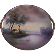 Beautiful Noritake Purple Hues Scenic Cake Plate Landscape