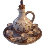 GK Austria Cordial Liqueur Brandy Decanter 6 Cups Tray Set Gmundner Keramic Pottery
