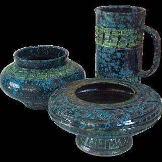 Mid Century 3 pc Italian Pottery Vase Pitcher Pedestal Bowl