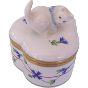 Herend Hungary Cat Blue Garland Trinket Box - Red Tag Sale Item