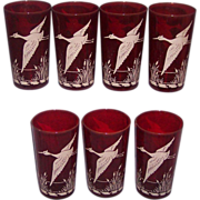 7 Ruby Red Hazel Atlas Flying Geese Drinking Glasses