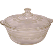 Pyrex Clear Etched Design Round Casserole