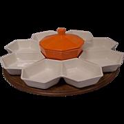 Great Calif. Pottery Lazy Susan Orange & White Set