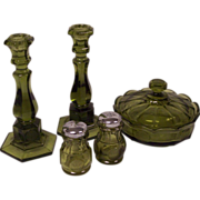 Fostoria Coin Glass Olive Green Group