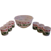 Hazel Atlas Egg Nog Holiday Punch Bowl Set Colonial