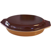Pyrex Butterscotch & Brown 1 Quart Divided Casserole
