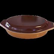 Pyrex Butterscotch & Brown 1 Quart Divided Casserole