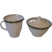 Pyrex Regency Green Sugar and Creamer Dinnerware