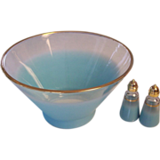 Turquoise Blendo Glass Large Bowl + S & P Shakers