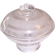 EAPG McKee Stippled Band Acorn Finial Covered Compote