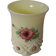 Jefferson Custard Glass Diamond with Peg Painted Rose Tumbler