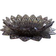 Federal Smoke Iridescent Glass Petal Serving Bowl & Platter