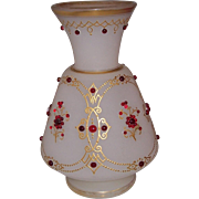 Gorgeous Bohemian Gilt Enameled & Jeweled Glass Vase