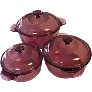 Corning Visions Cranberry 6 pc Set Versa Pots