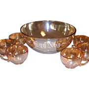 Vintage Iridescent Glass Egg Nog Punch Bowl & Cup Set Jeannette Camelia Flower