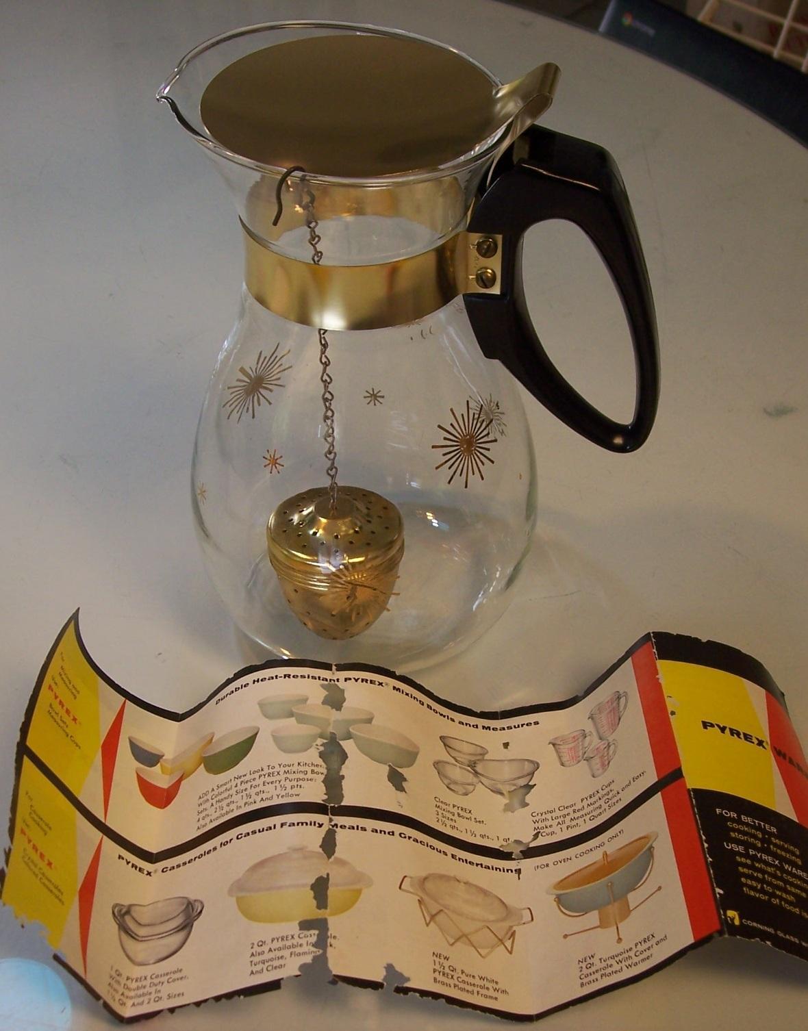 Pyrex Star Burst Sunburst Atomic Teapot Coffee Pot With