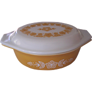 Vintage Pyrex Butterfly Gold Casserole w/Matching Top