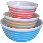 Pyrex Set of 3 Rainbow Striped Nesting Bowls
