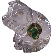 Waterford Crystal Pig Figurine Ireland w/ Label