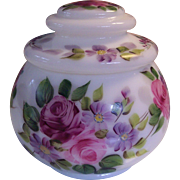 Vintage Hand Painted Roses Covered Jar Opaline Milk Glass Florals