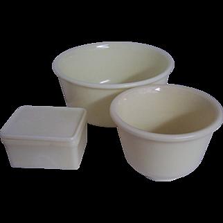 McKee Custard Glass Mixing Bowls Refrigerator Leftover Dish
